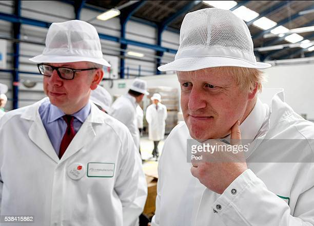 Michael Gove MP and Former Mayor of London Boris Johnson visit the DCS Group as part of the 'Vote Leave' campaign on June 6 2016 in StratforduponAvon...