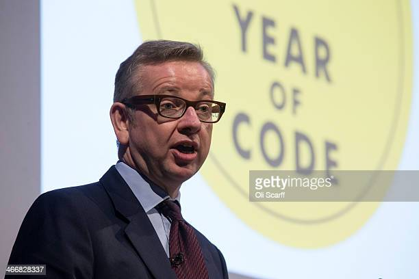Michael Gove the Education Secretary addresses an audience during the launch of the 'Year of Code' campaign at the Royal Society of Arts on February...
