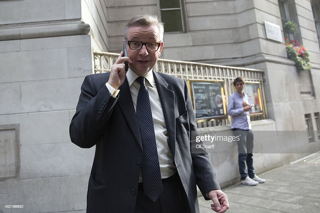 Michael Gove, the former Education Secretary, leaves a television studio in Westminster on July 15, 2014 in London, England. British Prime Minister David Cameron is conducting a reshuffle of his Cabinet team with a greater number of women expected to be appointed to senior positions.
