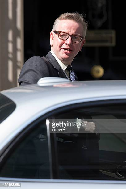 Michael Gove the former Education Secretary leaves Downing Street on July 15 2014 in London England British Prime Minister David Cameron is...