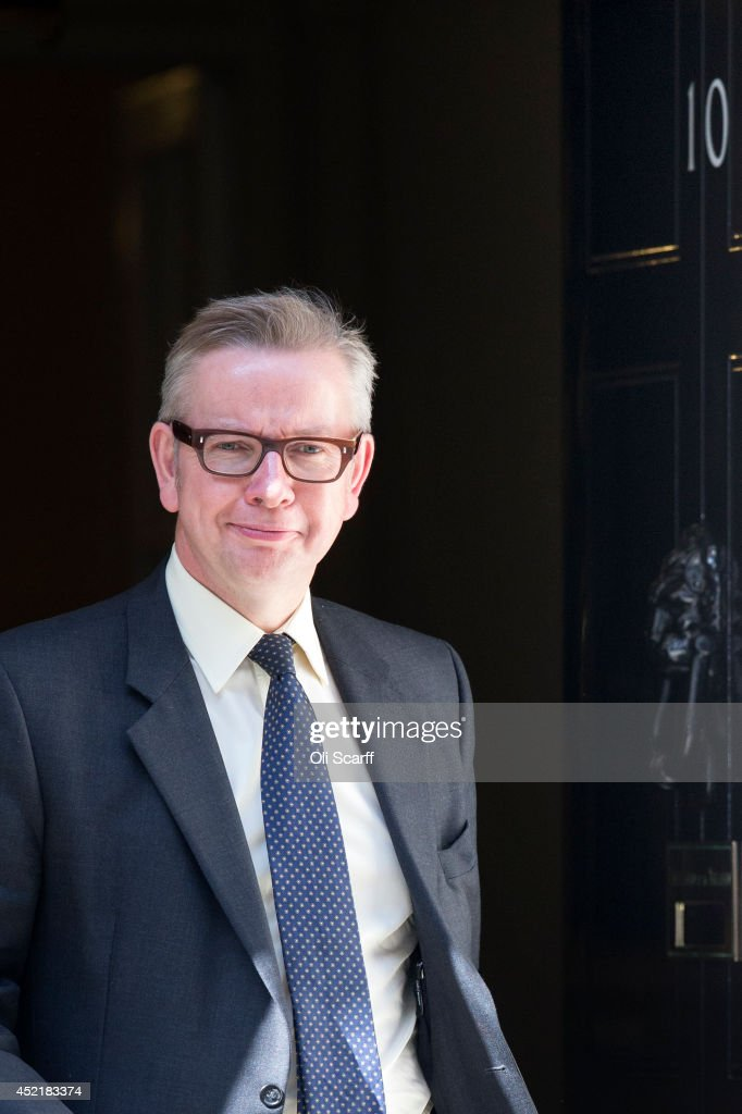 <a gi-track='captionPersonalityLinkClicked' href=/galleries/search?phrase=Michael+Gove&family=editorial&specificpeople=2223709 ng-click='$event.stopPropagation()'>Michael Gove</a>, the former Education Secretary, leaves Downing Street on July 15, 2014 in London, England. British Prime Minister David Cameron is conducting a reshuffle of his Cabinet team with a greater number of women expected to be appointed to senior positions.