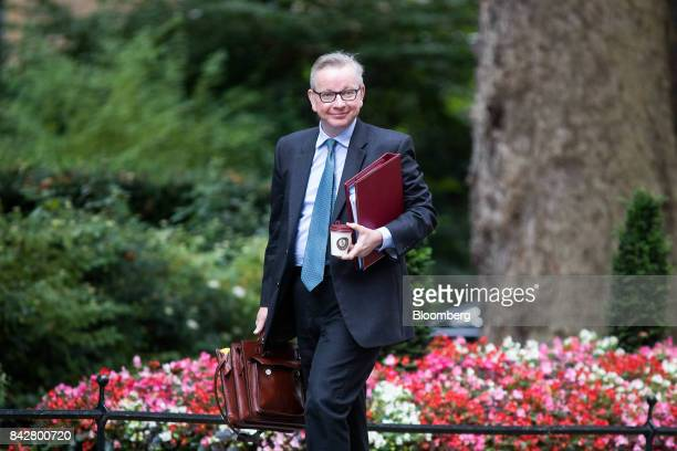 Michael Gove UK environment secretary arrives for a weekly meeting of cabinet ministers at number 10 Downing Street in London UK on Tuesday Sept 5...