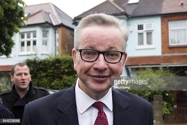 Michael Gove UK justice secretary reacts as he leaves his home in London UK on Friday July 1 2016 Hours after his announcement Gove used a BBC...