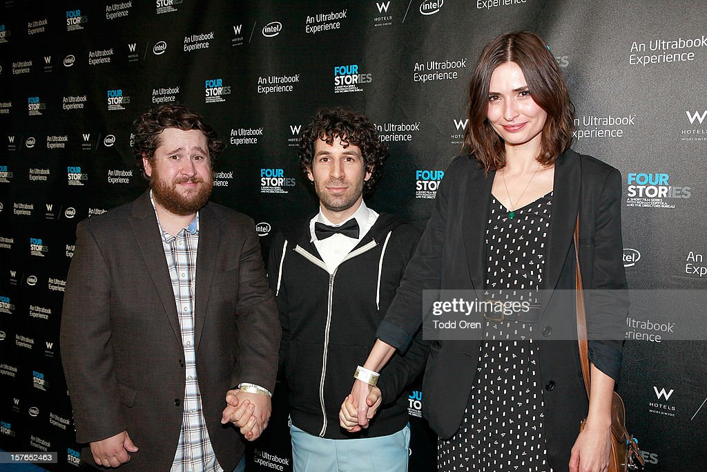 Michael Govier, director Spencer Susser and actress Karolina Wydra pose at the Intel and W Hotels present Four Stories Film Series at W Hotel Los Angeles - Westwood on December 4, 2012 in Westwood, California.