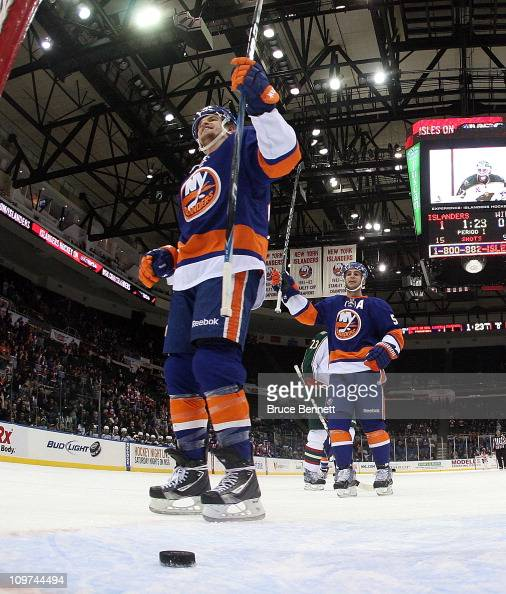 Michael Grabner and Frans Nielsen of the New York Islanders celebrate a goal against the Minnesota Wild at the Nassau Coliseum on March 2 2011 in...