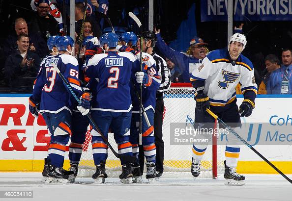 Michael Grabner and the New York Islanders celebrate his goal at 1939 of the first period against the St Louis Blues at the Nassau Veterans Memorial...