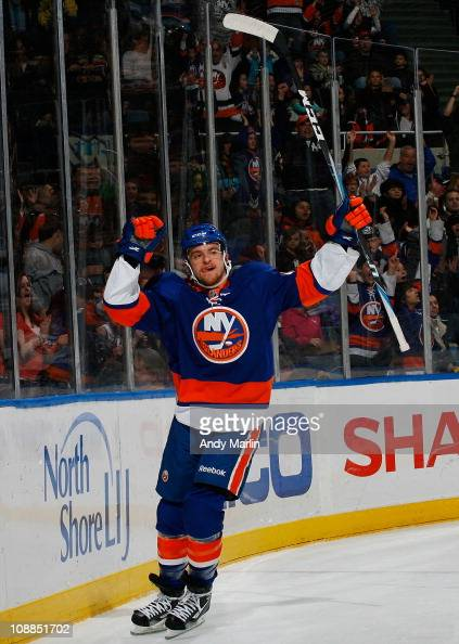 Michael Grabner of the New York Islanders celebrates his first period goal against the Ottawa Senators during the game at the Nassau Coliseum on...
