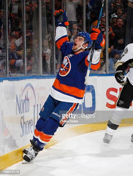 Michael Grabner of the New York Islanders celebrates his first period goal in the game against the Pittsburgh Penguins on February 11 2011 at Nassau...