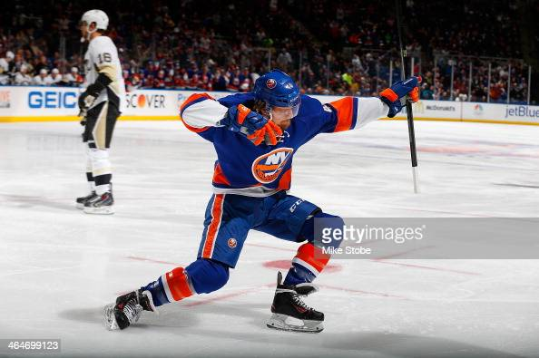 Michael Grabner of the New York Islanders celebrates his first period goal during the game against the Pittsburgh Penguins at Nassau Veterans...