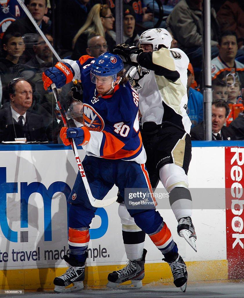Michael Grabner #40 of the New York Islanders skates against the Pittsburgh Penguins at the Nassau Veterans Memorial Coliseum on February 5, 2013 in Uniondale, New York.