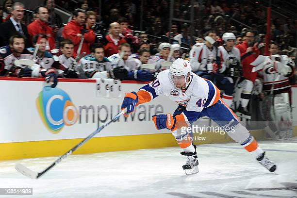 Michael Grabner of the New York Islanders skates on his way to winning fastest skater during the Honda NHL SuperSkills competition part of 2011 NHL...