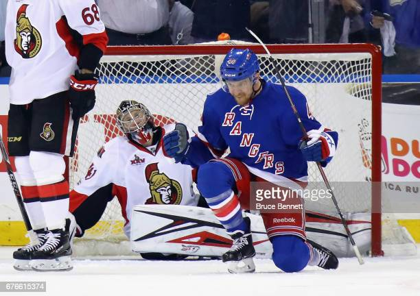 Michael Grabner of the New York Rangers celebrates his first period goal against Craig Anderson of the Ottawa Senators in Game Three of the Eastern...
