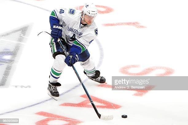 Michael Grabner of the Vancouver Canucks skates with the puck against the Los Angeles Kings in Game Three of the Western Conference Quarterfinals...