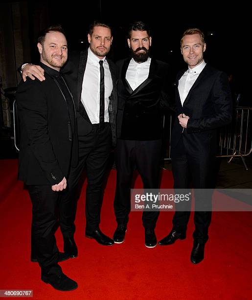Michael Graham Keith Duffy Shane Lynch and Ronan Keating of Boyzone attend the BT Sport Relief Ball at The Grosvenor House Hotel on March 26 2014 in...