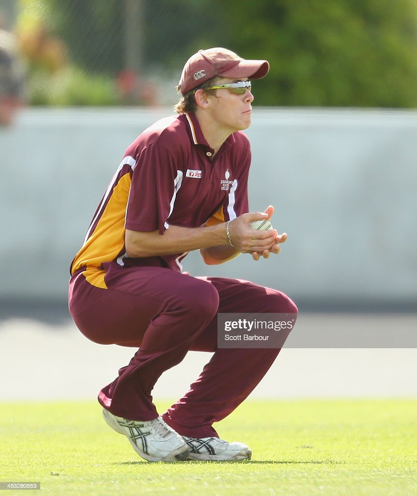 Michael Graham of Queensland takes a catch during the U19 Championship match between Queensland and ACT at New Town Oval on December 3 2013 in Hobart...
