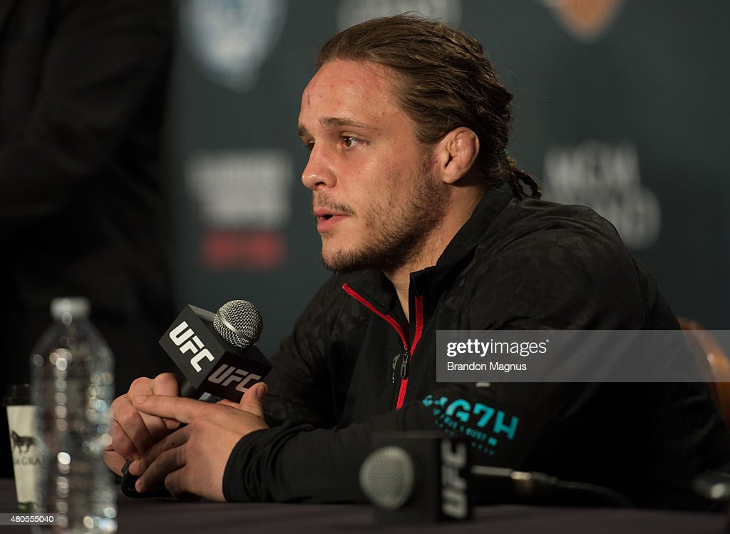 Michael Graves speaks to the media during the Ultimate Fighter Finale post fight press conference inside MGM Grand Hotel & Casino on July 12, 2015 in Las Vegas Nevada.