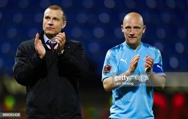 Michael Gravgaard CEO of Randers FC and Johnny Thomsen of Randers FC celebrate during the Danish Alka Superliga match between Randers FC and AC...