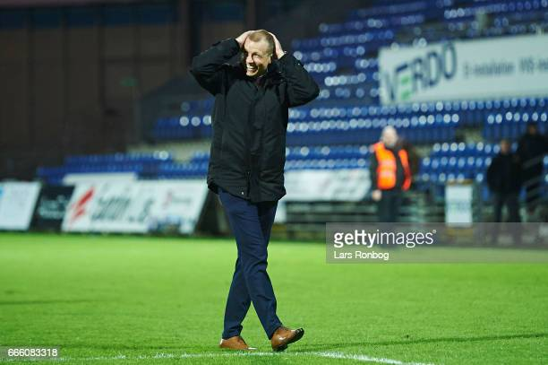 Michael Gravgaard CEO of Randers FC celebrates with the fans after the Danish Alka Superliga match between Randers FC and AC Horsens at BioNutria...