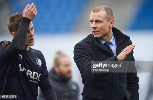 Michael Gravgaard CEO of Randers FC speaks to Kasper Enghardt of Randers FC after the Danish Alka Superliga match between Esbjerg fB and Randers FC...