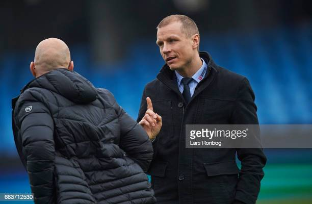 Michael Gravgaard CEO of Randers FC speaks to Olafur Kristjansson head coach of Randers FC after the Danish Alka Superliga match between Esbjerg fB...