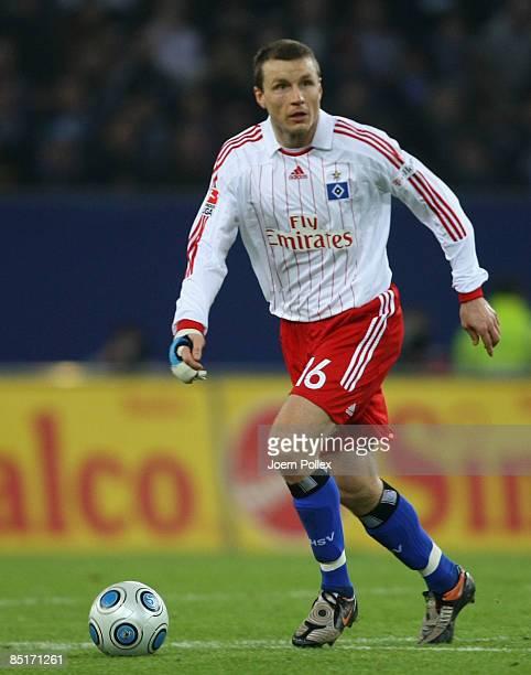 Michael Gravgaard of Hamburg controls the ball during the Bundesliga match between Hamburger SV and VFL Wolfsburg at the HSH Nordbank Arena on March...