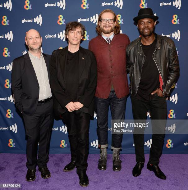 Michael Green Neil Gaiman Bryan Fuller and Chris Obi arrive at the 'American Gods' advance screening In Partnership With GLAAD at The Paley Center...