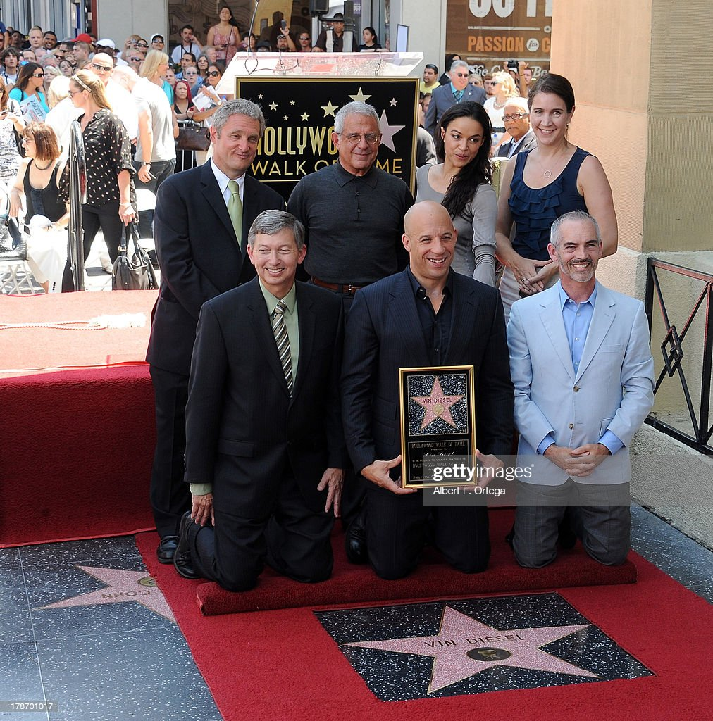 Michael Green, Ron Meyer, actress Michelle Rodriguez, Leron Gubler, actor Vin Diesel and Mitch O'Farrell participate in the Star Ceremony for Vin Diesel on the Hollywood Walk Of Fame held on August 26, 2013 in Hollywood, California.
