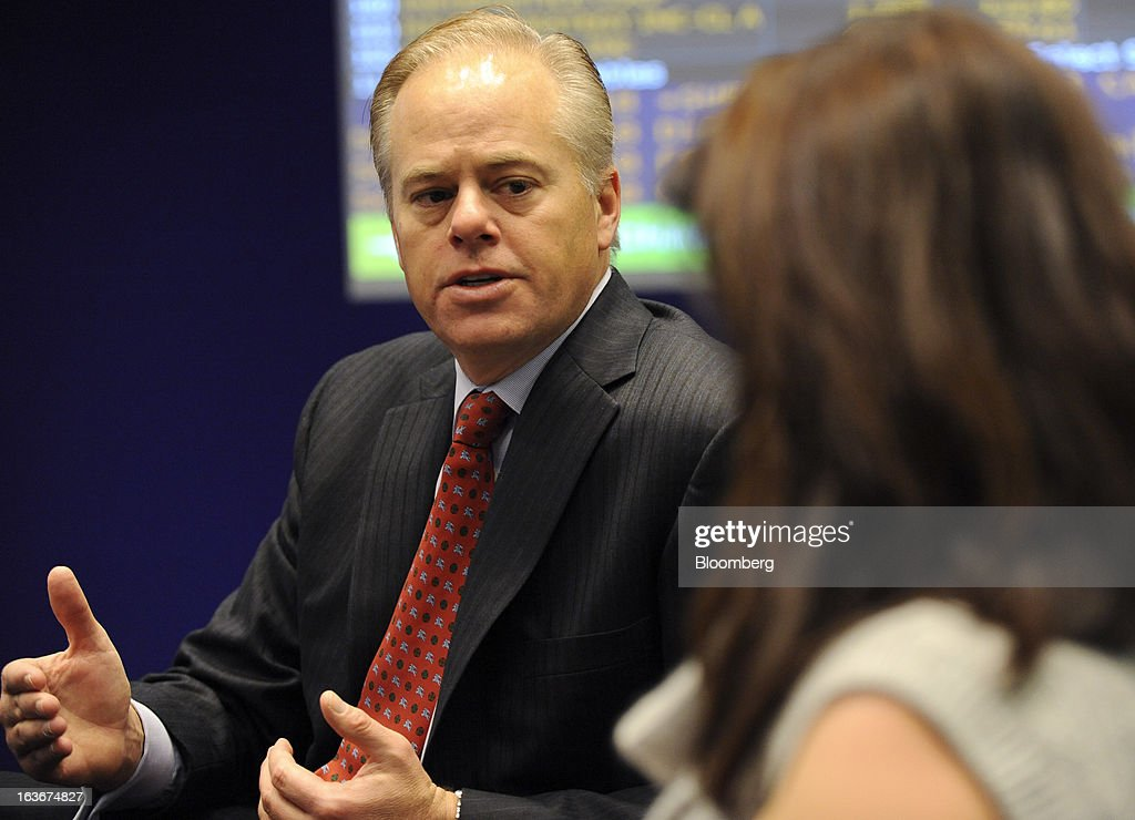 Michael Gregoire, chief executive officer of CA Inc., speaks during an interview in New York, U.S., on Thursday, March 14, 2013. CA, a maker of software for managing information technology, will host its largest user conference, CA World, from April 21-24 in Las Vegas where Gregoire will give the keynote speech. Photographer: Peter Foley/Bloomberg via Getty Images