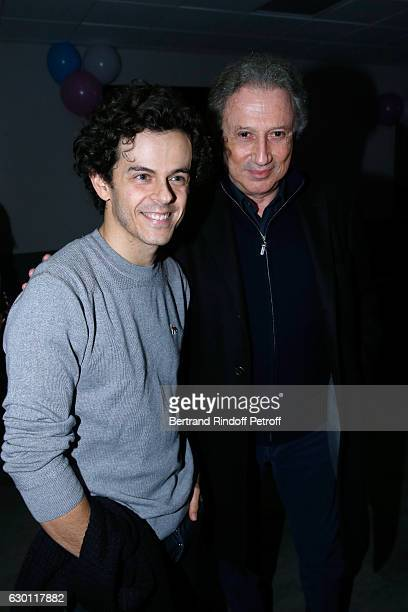 Michael Gregorio and Michel Drucker pose after Michael Gregorio performed for his 10 years of Career at AccorHotels Arena on December 16 2016 in...