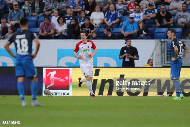 Michael Gregoritsch of Augsburg celebrates his goal to make it 11 during the Bundesliga match between TSG 1899 Hoffenheim and FC Augsburg at Wirsol...