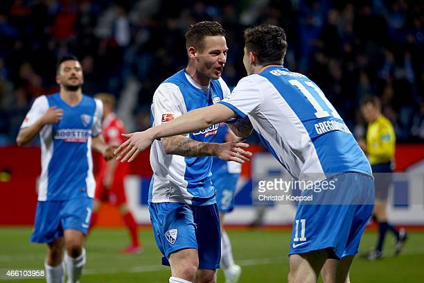 Michael Gregoritsch of Bochum celebrates the forth goal with Timo Perthel of Bochum during the Second Bundesliga match between VfL Bochum and 1 FC...