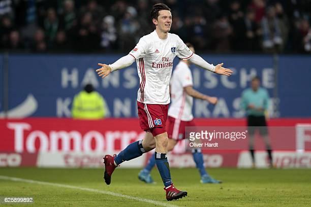 Michael Gregoritsch of Hamburg celebrates after scoring their second goal during the Bundesliga match between Hamburger SV and Werder Bremen at...
