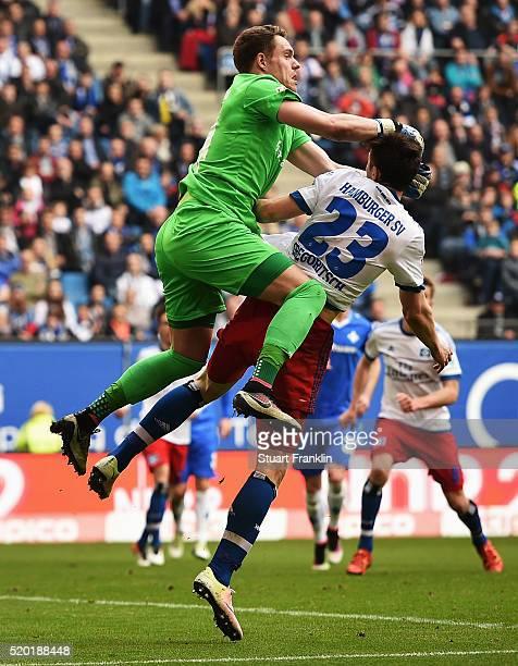 Michael Gregoritsch of Hamburg is challenged by Christian Mathenia of Darmstadt during the Bundesliga match between Hamburger SV and SV Darmstadt 98...