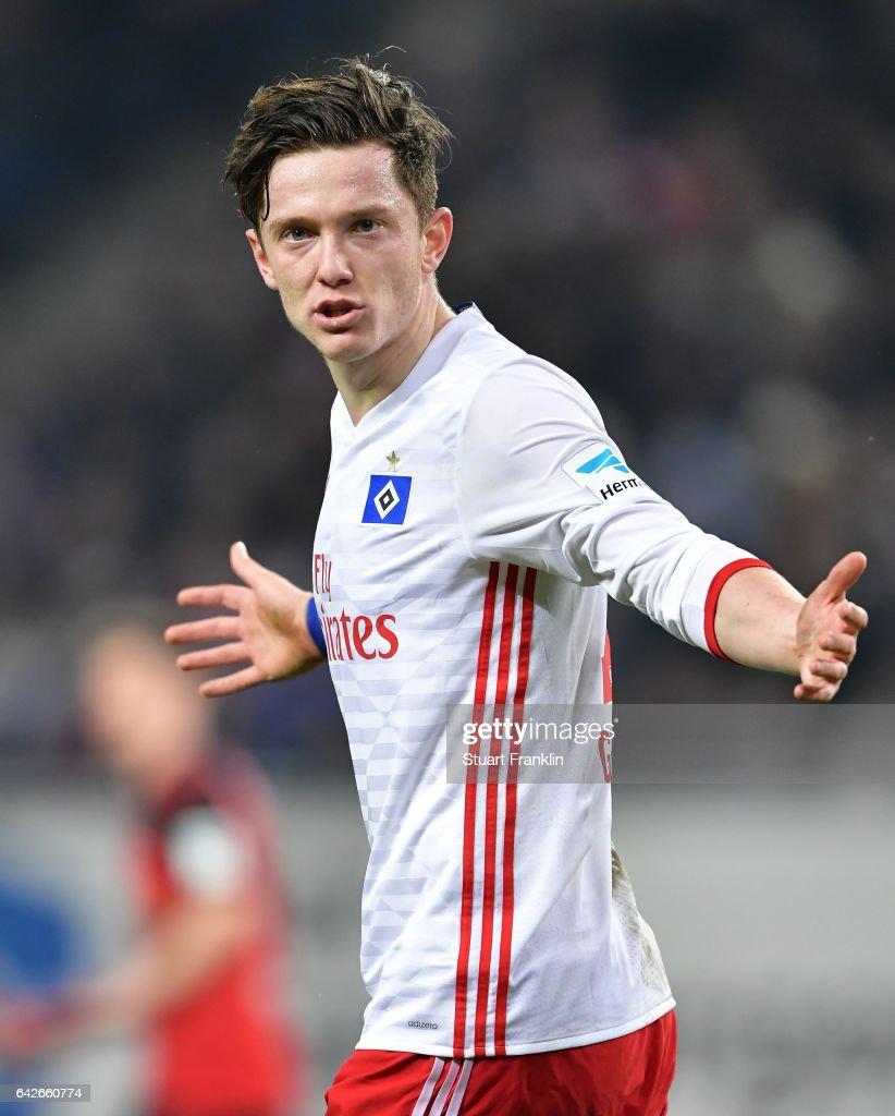 Michael Gregoritsch of Hamburg reacts during the Bundesliga match between Hamburger SV and SC Freiburg at Volksparkstadion on February 18, 2017 in Hamburg, Germany.