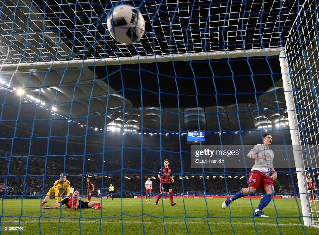 Michael Gregoritsch of Hamburg scores the second goal during the Bundesliga match between Hamburger SV and SC Freiburg at Volksparkstadion on February 18, 2017 in Hamburg, Germany.