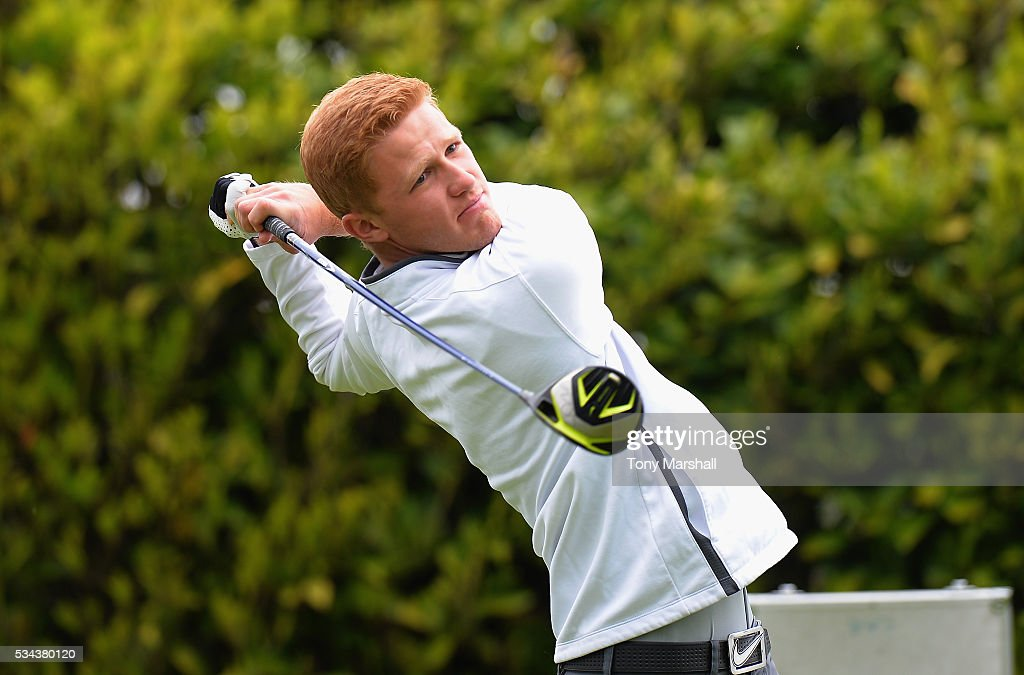 Michael Gregory of AGMS plays his first shot on the 1st tee during the PGA Assistants Championships - Midlands Qualifier at the Coventry Golf Club on May 26, 2016 in Coventry, England.