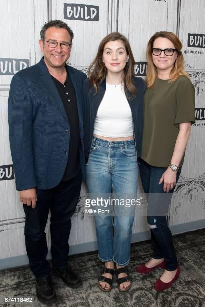 Michael Greif Laura Dreyfuss and Jennifer Laura Thompson visit Build Studios to discuss 'Dear Evan Hansen' at Build Studio on April 27 2017 in New...