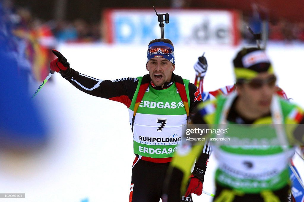 Michael Greis of Geramyn reacts at the finish line after the men's pursuit event during the e.on IBU Biathlon World Cup at Chiemgau - Arena on January 16, 2011 in Ruhpolding, Germany.