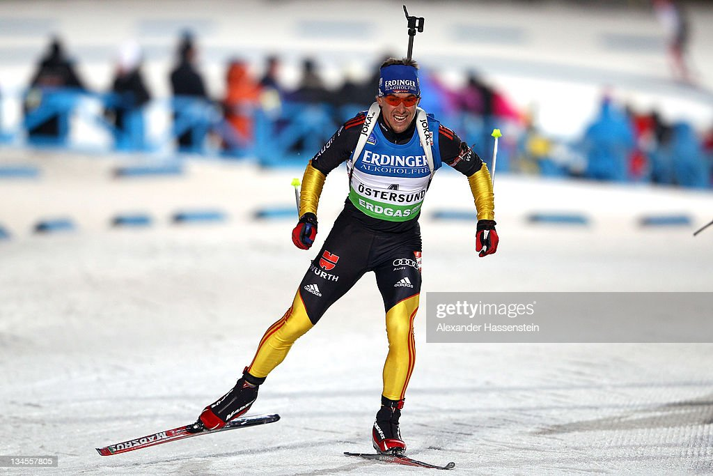<a gi-track='captionPersonalityLinkClicked' href=/galleries/search?phrase=Michael+Greis&family=editorial&specificpeople=702831 ng-click='$event.stopPropagation()'>Michael Greis</a> of Germany competes at the men's 10km sprint race during the E.ON IBU World Cup Biathlon at the Ostersund Ski Stadium on December 2, 2011 in Ostersund, Sweden.