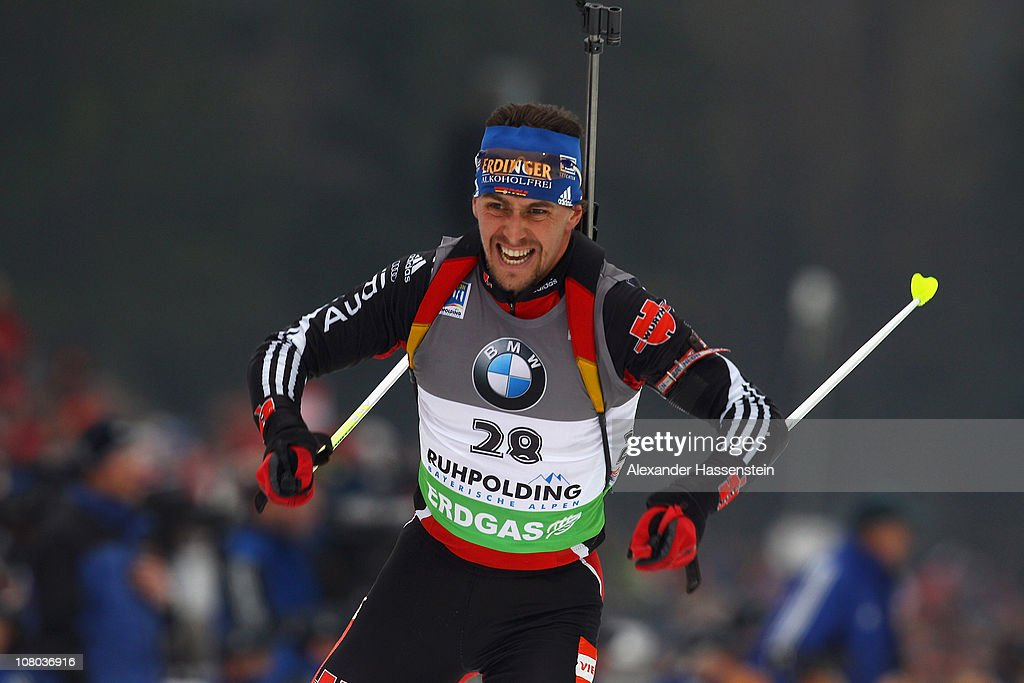 <a gi-track='captionPersonalityLinkClicked' href=/galleries/search?phrase=Michael+Greis&family=editorial&specificpeople=702831 ng-click='$event.stopPropagation()'>Michael Greis</a> of Germany competes in the men's 10 km sprint event during the e.on IBU Biathlon World Cup at the Chiemgau Arena on January 14, 2011 in Ruhpolding, Germany.