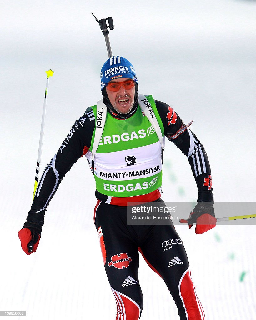Michael Greis of Germany competes in the men's 20km individual race during the IBU Biathlon World Championships at A.V. Philipenko winter sports centre on March 8, 2011 in Khanty-Mansiysk, Russia.