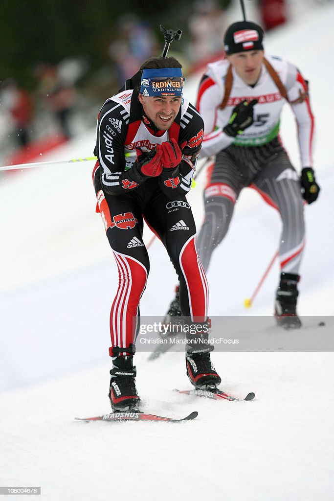 <a gi-track='captionPersonalityLinkClicked' href=/galleries/search?phrase=Michael+Greis&family=editorial&specificpeople=702831 ng-click='$event.stopPropagation()'>Michael Greis</a> of Germany competes in the men's individual during the E.ON IBU World Cup Biathlon on January 12, 2011 in Ruhpolding, Germany.