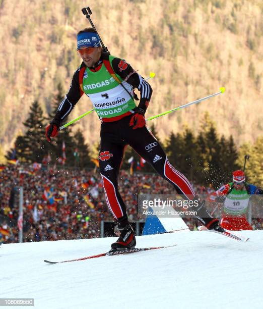 Michael Greis of Germany competes in the men's pursuit event during the eon IBU Biathlon World Cup at Chiemgau Arena on January 16 2011 in Ruhpolding...