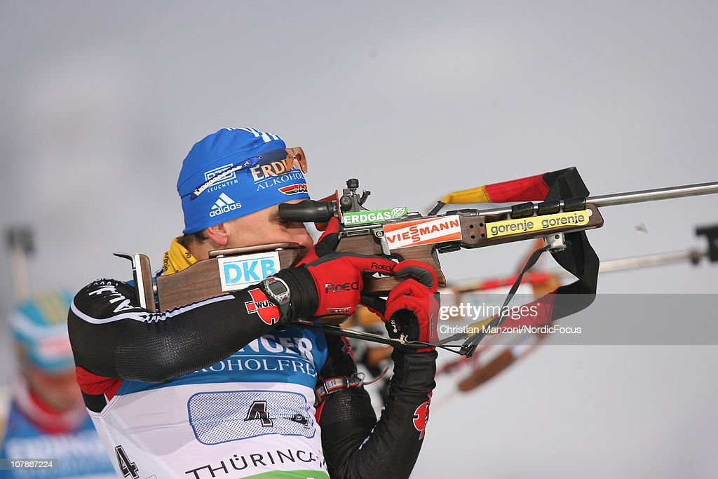 <a gi-track='captionPersonalityLinkClicked' href=/galleries/search?phrase=Michael+Greis&family=editorial&specificpeople=702831 ng-click='$event.stopPropagation()'>Michael Greis</a> of Germany competes in the men's relay during the e.on IBU Biathlon World Cup on January 05, 2011 in Oberhof, Germany.