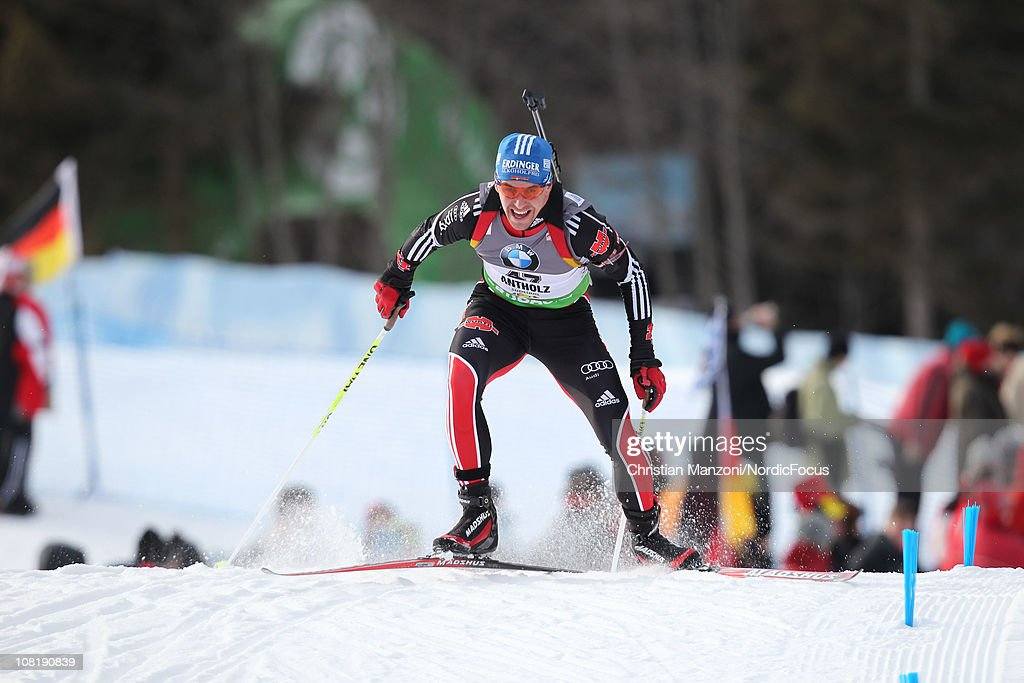 <a gi-track='captionPersonalityLinkClicked' href=/galleries/search?phrase=Michael+Greis&family=editorial&specificpeople=702831 ng-click='$event.stopPropagation()'>Michael Greis</a> of Germany competes in the men's sprint during the E.ON IBU Biathlon World Cup on January 20, 2011 in Antholz-Anterselva, Italy.