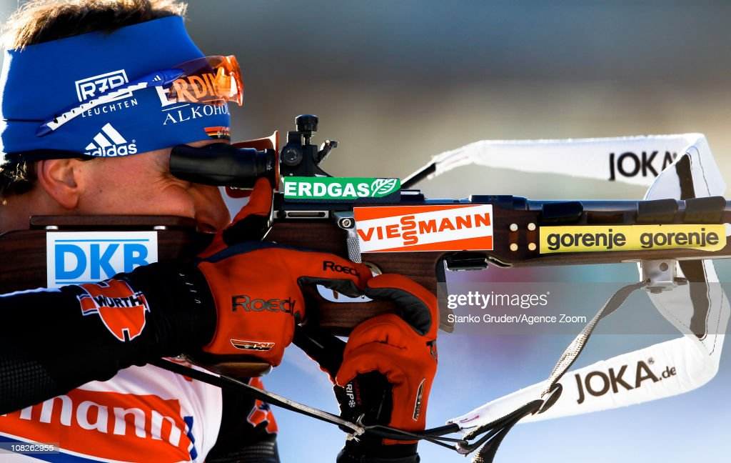 <a gi-track='captionPersonalityLinkClicked' href=/galleries/search?phrase=Michael+Greis&family=editorial&specificpeople=702831 ng-click='$event.stopPropagation()'>Michael Greis</a> of Germany in action during the IBU World Cup Biathlon Men's 4x7.5 km Relay on January 23, 2011 in Antholz-Anterselva, Italy.