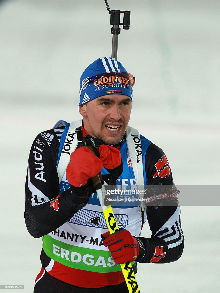 <a gi-track='captionPersonalityLinkClicked' href=/galleries/search?phrase=Michael+Greis&family=editorial&specificpeople=702831 ng-click='$event.stopPropagation()'>Michael Greis</a> of Germany reacts at the finish area after men's relay during the IBU Biathlon World Championships at A.V. Philipenko winter sports centre on March 11, 2011 in Khanty-Mansiysk, Russia.