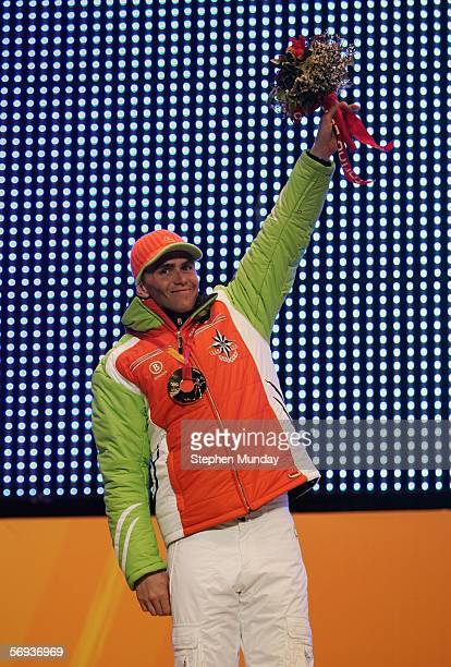 Michael Greis of Germany receives the Gold medal in the Mens Biathlon 15km Mass Start at the Medals Plaza on Day 15 of the 2006 Turin Winter Olympic...