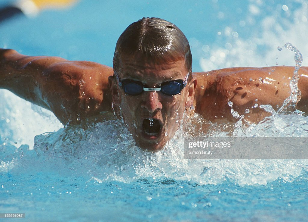 Michael Gross of Germany during the Men's 100 metres Breaststroke at the VII FINA World Aquatics Championships on 7th January 1991 in Perth, Australia.