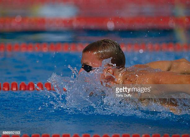 Michael Gross of Germany swims during the Men's 200 metres butterfly event at the V FINA World Swimming Championships on 22 August 1986 at the M86...